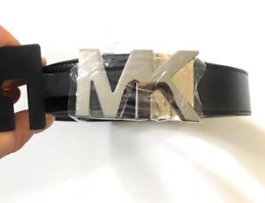 MICHAEL KORS REVERSIBLE MEN MK BELT LOGO BLACK & BROWN & SILVER   Size 34 & 36