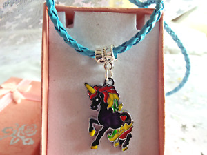 UNICORN NECKLACE PRINCESS BLUE PLATED WITH GIFT BOX BIRTHDAY PARTY DRESSING UP