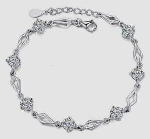 Damen Silber Armband Rauten geschnitzt Zirkonia 925er Sterlingsilber pl.