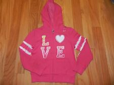 NWT Justice Hot Pink LOVE Dance Zippered Hooded Jacket Size 5
