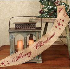 Red Merry Christmas Burlap Ribbon FARMHOUSE PRIMITIVE CHRISTMAS TREE DECOR