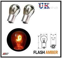Chrome Silver Offset Pin Indicator Bulb Bulbs Flash Amber / Orange 343 - Pair
