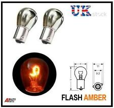 Chrome Silver Offset Pin Indicator Bulb Bulbs Flash Amber / Orange 343 - Pair