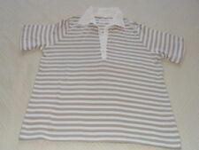 Shirt kurzarm, Größe L, weiss / braun gestreift, V – Ausschnitt, Gina Laura