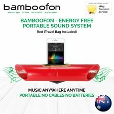BambooFon - Energy Free Portable Sound System - Red (Travel Bag Included)