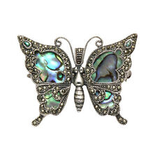 Sterling Silver Butterfly Pin w/Marcasite Framed Abalone Wings