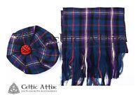 Dark Brown Wool XL Dun Bonnet Scot Bonnet Scottish Highlander Tam Hat Kilt Beret