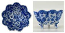 Antique Chinese Ming Kangxi Blue & White Lotus Porcelain Libation Cup Dish Bowl