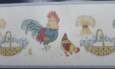 Country Style Wallpaper Border Rooster & Hen with Eggs Chook