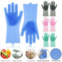 Magic Silicone Rubber Dish Washing Gloves Kitchen Bathroom Dish Cleaning US
