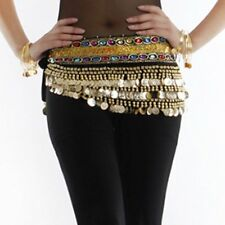 8 Colors New Belly Dance Dancing Two Gem Bead Belt Hip Scarf with Gold Coins