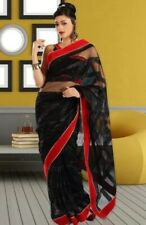 Elegant Black Net Saree with Sequenced Horizontal Panels and Velvet Border