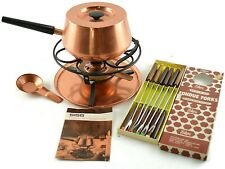 Vintage Sigg Copper Fondue Pot Set with12 Enkore Fondue Forks