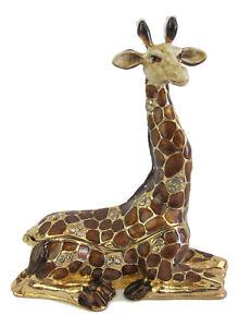 Giraffe Sitting Diamante Jewelled Trinket Box or Figurine