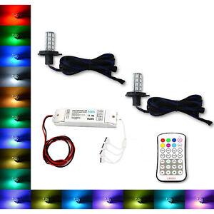 H4 9003 27 SMD RGB Multi-Color Changing Shift Led Fog Light DRL Bulb M7 Pair 7X6