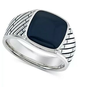Natural Black Onyx Gemstone With 925 Sterling Silver Ring For Men's #29