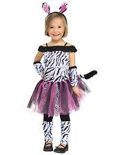 Toddler Girls Baby Pink Zebra Off Shoulder Tutu Dress Up Halloween Costume S
