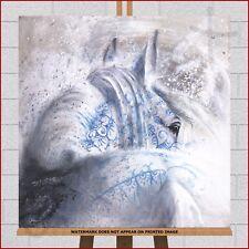 White Horse Canvas Framed Box Print Picture Art Brume d´argent I by Cedric Cazal