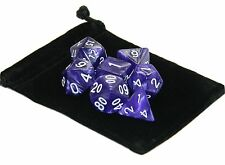 New 7 Piece Polyhedral Pearlescent The Phantom Purple Dice Set With Bag D&D RPG