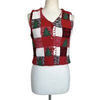 MICHAEL SIMON Women's Size S Red White Tree Ugly Christmas Sweater Vest
