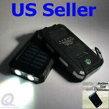 Solar Power Bank Fast Charge Dual USB Black/White Lightweight 9oz, Solar Charger