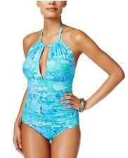 NWT Ralph Lauren Women's Size 6 Oceania Floral One-Piece Swimsuit Blue/Green NEW