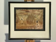 Shaved / Straw Bamboo Signed Art African Village Landscape In Wood Frame