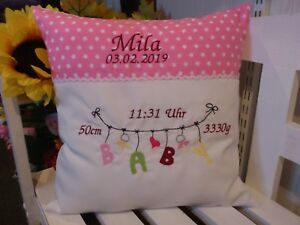 Kissen mit Namen bestickt zur Geburt( Baby Wäscheleine rosa 07 )