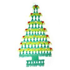 Vtg Green Woven Christmas Tapestry Tree Wall Hanging Pom Pom Boho Kitsch MCM