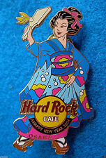 OSAKA JAPANESE GEISHA GIRL BLUE KIMONO NEW YEAR 2004 FAN Hard Rock Cafe PIN LE