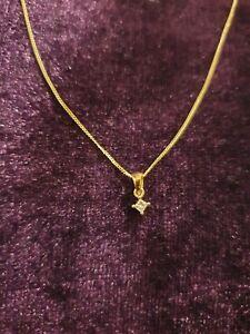 9ct Yellow Gold Princess Cut Diamond Necklace