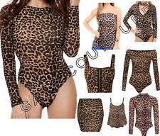 Womens Animal Leopard Print Bodysuit Long Sleeve Leotard Skirt Bra Cami Top 8-26