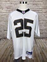 New Orleans Saints Reggie Bush #25 Men's Large Reebok NFL White Away Jersey