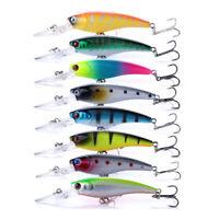 8PCS Lot Fishing Lures Hard Bait Minnow Crankbait Bass Tackle Swimbaits Wobbler