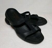 Crocs Womens Black Slip On Flip Flop Sandals Size 9