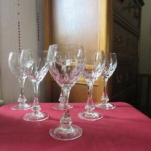 6 verres a vin rouge en cristal de lorraine  Lemberg signé modèle Nora