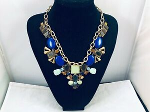 PRETTY CHICO'S TOPAZ RHINESTONE BLUE BEADED GOLD TONE CHUNKY NECKLACE