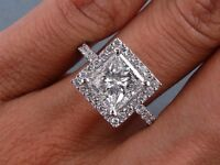 2.55 CARATS CT TW PRINCESS CUT DIAMOND ENGAGEMENT RING H SI2