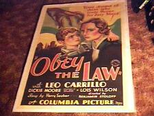 OBEY THE LAW MOVIE POSTER '33 GREAT STONE LITHO LINEN