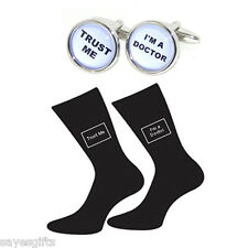 Pair of Trust Me I'm a Doctor Socks & Round Doctor Cufflinks