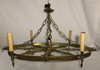 Vintage Oval Low Profile Brass 4 light CHANDELIER for Kitchen Island Spain Heart