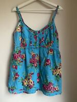 TURQUOISE BLUE FLORAL TOP CAMI 14 M&S WOMEN PARTY FESTIVAL BOHO IBIZA PRETTY