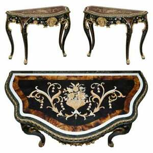 IMPORTANT PAIR OF PIETRA DURA MARBLE DEMI LUNE CONSOLE TABLES BRONZE GILDING
