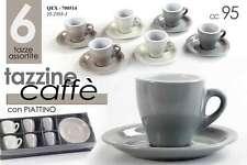 SET 6 TAZZINE CAFFE' ASSORTITE CON PIATTINO 95 ML COLORI ASSORTITI QEX-700514