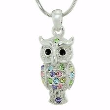 "Eagle OWL Pendant Made With Swarovski Crystal Multi Color Necklace 18"" Chain"