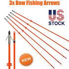 3/6pcs Bowfishing Arrows Fiberglass Broadheads Archery Bow Fishing Hunting NEW