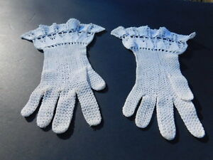 *VINTAGE CROCHETED LADIES CREAM  COTTON DRESS GLOVES UNLINED SIZE SMALL