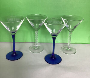 Mixed Set Of 4 Martini Glasses Contemparary