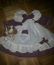 Kleid+Schürze oliv-beige 50 cm für Antikpuppen 2 Teile