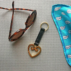 Rare Moschino Redwall Italy Leather / Goldtone Brass Key Ring Fob NIB 1990s 90s